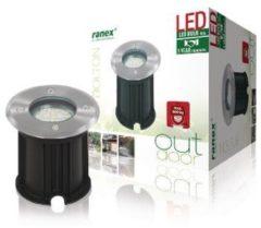 Ranex Smartwares 5000.461 LED ronde grondspot buiten geborsteld staal inbouw LED incl.