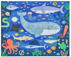 Blauwe Wild & Wolf dubbelzijdige puzzel in etui met rits | Dieren in zee | 100 stuks | vanaf 3 jaar