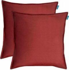 Bordeauxrode Kussoo Sierkussen Fluweel Uni Bordeaux Rood 50x50 cm Set van 2