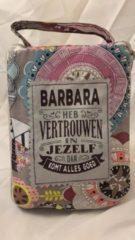 History&heraldy Shopper bag dames met leuke tekst BARBARA HEB VERTROUWEN IN JEZELF DAN KOMT ALLES GOED winkeltasje Wordt geleverd in cellofaan met linten