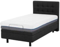 Beliani Gestoffeerd bed grijs elektrisch verstelbaar 90 x 200 cm DUKE