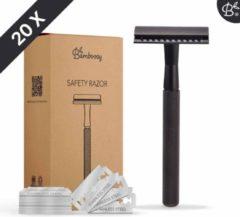 Bamboozy Safety Razor + 20 scheermesjes Matte Black voor vrouwen dames heren mannen unisex - Veiligheidsscheermes - Scheermes - Scheermesjes - Double Edge - Single Blade - Zero Waste Project - Duurzaam Scheren - Zero Waste Producten