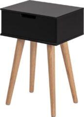 Lisomme Fabienne nachtkastje - Eikenhout onderstel - L40 x B30 x H61 cm - Zwart