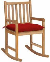 VidaXL Schommelstoel met rood kussen massief teakhout