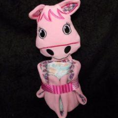 Roze Sabinesgeschenkenshop.be Knuffeldoekje Paard Roos met pampers