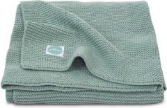 Donkergroene Jollein Wiegdeken Basic knit - 75 x 100 cm - Forest Green
