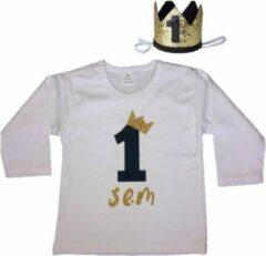 Dottig.com Jongensshirt, verjaardag, 1 jaar, eigen naam, haarkroon, zwart/goud