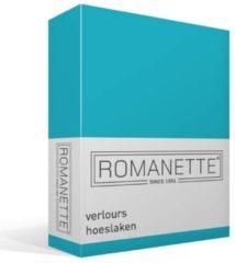 Blauwe Romanette Velours Hoeslaken - 80% Katoen - 20% Polyester - 1-persoons (80/90/100x200/220 Cm) - Petrol