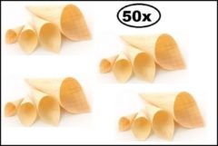 Beige Thema party 50x Houten puntzak diameter 90mmx155/225mm