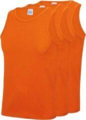 Awdis 3-Pack Maat M - Sport singlets/hemden oranje voor heren - Hardloopshirts/sportshirts - Sporten/hardlopen/fitness/bodybuilding - Sportkleding top oranje voor mannen