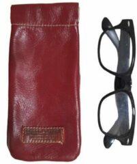Toetie & Zo Handgemaakte Leren Brillenkoker Rood - Knijpsluiting - Brillenetui - Brillentas - Leder - Snappouch