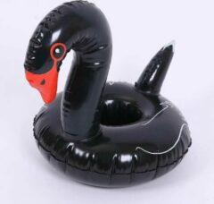 Assortimarkt.nl Opblaasbare Zwarte zwaan voor in zwembad en stand speelgoed glas / blikhouder opblaasbaar speelgoed voor in water
