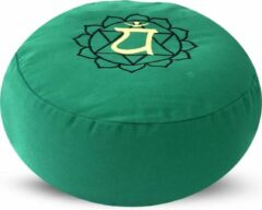 Groene Green Tree Candle Company Rond Meditatiekussen met Boekweit Vulling – Heart Chakra