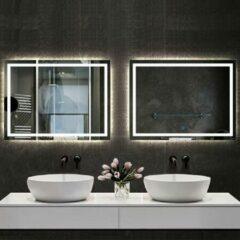 Aica Sanitair Badkamerspiegel 80x60cm LED spiegel met verlichting,wandspiegel,enkele touch schakelaar,anti-condens,koud wit