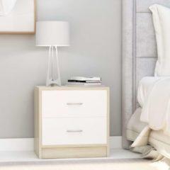 Beige VidaXL Nachtkastje 40x30x40 cm spaanplaat wit en sonoma eikenkleurig