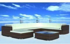 Bruine Vidaxl loungeset voor buiten poly rattan bruin 24-delig
