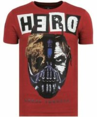 Rode Local Fanatic Hero Mask - Zomer T shirt Heren - 6323B - Bordeaux - Maten: XL