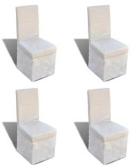 Creme witte VidaXL Eetkamerstoelen vierkant stof crmewit 4 st