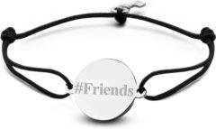 Zwarte Key Moments 8KM-BE0003 - Armband met stalen tekst bedel en sleutel - #Friends - one-size - zilverkleurig
