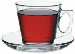 Transparante Pasabahce Basic - Theekop & Schotel - Set van 12 - 190 ml