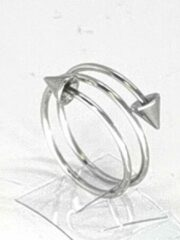Zilveren Lili 41 Prachtige elegant ring van edelstaal, deze ring is met dubbel draad en veerbare en aan beide eind met punt verwerkt, in maat 18