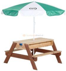 AXI Nick Zand & Water Picknicktafel / Bruin / FSC 100% Ceder hout / 5 jaar garantie! / Incl. parasol en 2 kunststofbakken