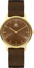 Gouden Danish Design watches edelstalen dameshorloge Vigelsø Gold Brown Gold Mesh IV74Q1249