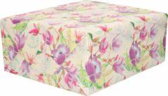 Creme witte Shoppartners 1x Inpakpapier/cadeaupapier creme met paarse bloemen en vogels motief 200 x 70 cm rol - 200 x 70 cm - kadopapier / inpakpapier