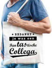 Creme witte Shoppartners Cadeau tas naturel katoen met de tekst Fantastische collega - kadotasje / shopper voor collega heren