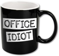 Witte Paper dreams Black&White Mugs - Office Idiot-Black