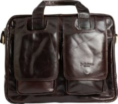 Donkerbruine 14 inch Leren Laptoptas - Aktetas - Schoudertas - Erasmus Limited Edition - Jarff Rivers