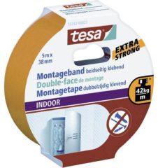 Beige 1x Tesa dubbelzijdig montagetape draagkracht 60 kg 5 meter - Klusmateriaal - Huishoudartikelen - Montage tape - Dubbelzijdig tape