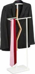 Relaxdays dressboy staal - wit - kledingstandaard - kledingrek - metaal - hout - standaard