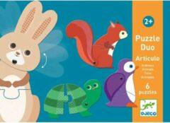 Djeco duo puzzel dieren - 6x2 stukjes