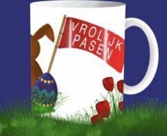 Rode The Mokken Boutique - Mok voor Pasen met Paashaas en Paaseieren - Pasen, Paasbrunch, tafel decoratie