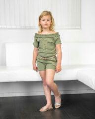 Like Flo Meisjes zomer jumpsuit woven - Army