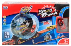 Oranje Jonotoys lanceerbaan Speed Track Power Racing 198 cm 20-delig
