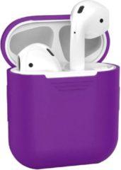 BTH Siliconen Bescherm Cover Case Hoes voor Apple AirPods Hoesje - Paars