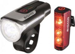 Sigma Fietsverlichtingsset AURA 80 FL / Blaze Set LED werkt op een accu Zwart