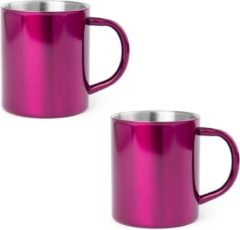 Shoppartners 4x Drinkbeker/mok fuchsia 280 ml - RVS - Fuchsia mokken/bekers voor onbijt en lunch