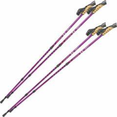Tectake 2 paar Nordic walking stokken antishock paars 401982