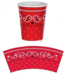 Rode Fun & Feest Party Gadgets Boeren zakdoek bekertjes 8 stuks