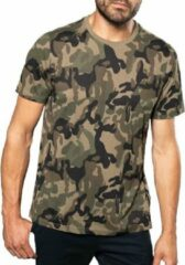 Groene Kariban Camouflage t-shirt met korte mouwen voor heren - herenkleding - camouflage kleding L