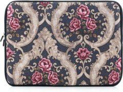 Merkloos / Sans marque Laptop sleeve tot 13 inch met rozen – Antraciet/Donkerroze/Zandkleur