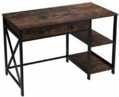 Maison Home Maison's Bureau - Bureautafel - Industrieel - Lade - Planken - Bruin/Zwart - 115x60x76