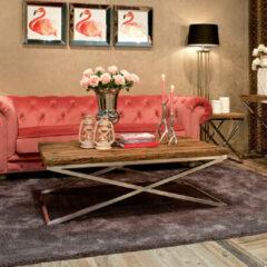 Zilveren Richmond Interiors Richmond Salontafel 'Kensington' RVS en Mangohout, 130 x 80cm