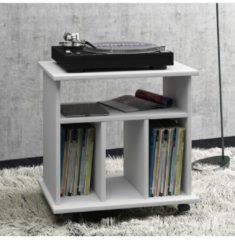 LP-Möbel Regal Schallplatten Phonomöbel Medienregal Schallplattenspieler 'Retal' VCM Weiß