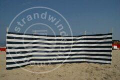 Marineblauwe Strandwindschermen.nl Strand Windscherm 5 meter dralon marine blauw/wit met houten stokken