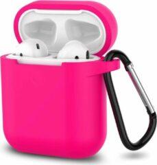 JVS Products Apple Airpods 1 en 2 ultra dunne siliconen cover - Hoesje - extra dunne Apple Airpods siliconen cover met sleutelhanger - Fuchsia / Roze
