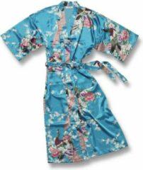 TA-HWA Kimono met Pauw Motief Turquoise Dames Kimono L